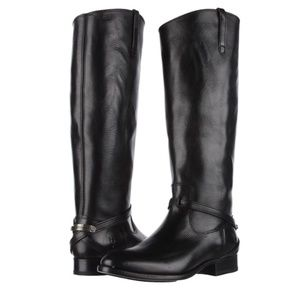 Frye Tall Lindsay Plate Black Leather Boots - S9.5